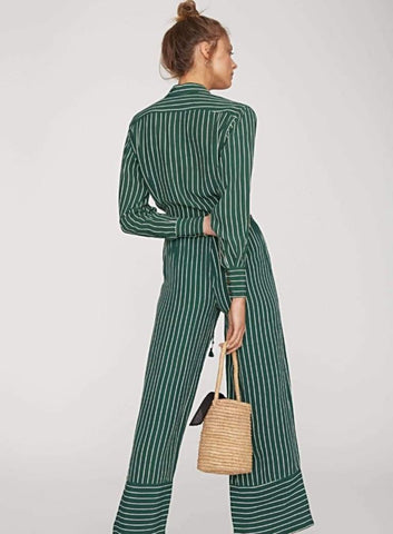 THIS IS A MID RISE WAISTED PANT WITH ELASTIC TIES IN PASEO GREEN STRIPE COLOUR