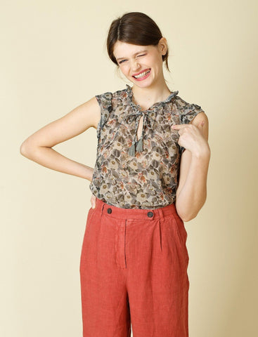 Floral Chiffon Top - Harvest Beauty