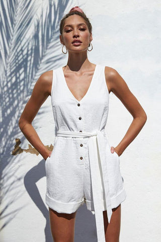 FARRADAY PLAYSUIT Comfortable mid-width straps V neckline on front and on back Contrast buttons down front Structured waist with a fabric tie Shorts bottoms  Rolled hem Super lightweight and breathable fabric *Colour is a slightly off white tone
