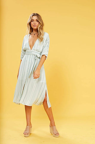 Low Tide Button Front Midi Dress  $ 119.00 CAD  Style# IM19S1557  Picture yourself with a rosé in hand on a beautiful balcony overlooking the Italian Amalfi Coast. The MINKPINK Low Tide Button Front Midi Dress is your dream come true.
