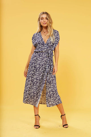 Wild Jasmine Wrap Maxi Dress  $ 119.00 CAD  Style# IM19S1452  MATERIAL & CARE Outer fabric material: 100% viscose