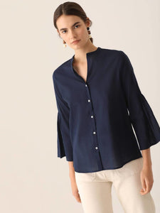 Shirt With Gathered Sleeves 40 / Navy Blouses
