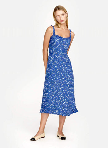 THIS IS A MIDI LENGTH SLIM FIT DRESS WITH FRILL DETAIL ON STRAPS AND RUCHING IN THE BACK FOR EASY FIT.