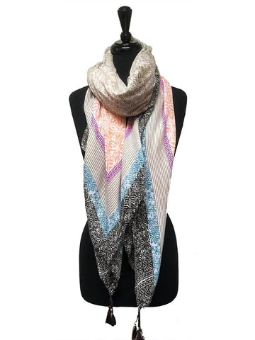 HARVEST SCARF ABSTRACT PRINT WITH TASSELS IN PEACH - Harvest Beauty