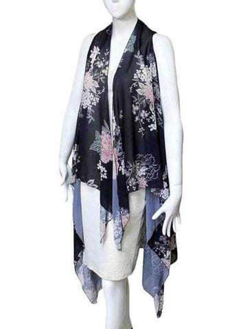 HARVEST WATERFALL SCARF LONG VEST IN BLACK - Harvest Beauty