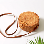 Round Rattan Straw Bag with Bow Clip - Harvest Beauty