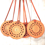 HARVEST ROUND SKETCHED RATTAN STRAW BAG in Natural Colour with Bow Clip - Harvest Beauty