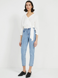 Stevie High-Waisted Tapered Jean in Light Indigo