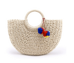 Moon Shaped Straw Bag - Harvest Beauty