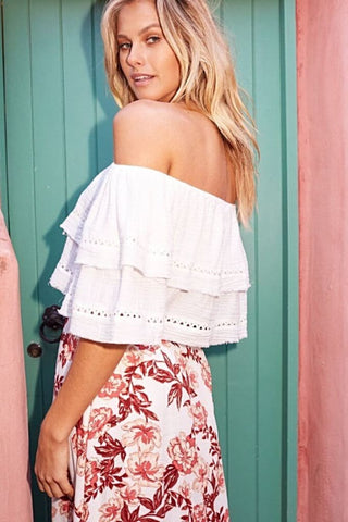 SLIDING CURRENTS OFF THE SHOULDER RUFFLE TOP - Harvest Beauty