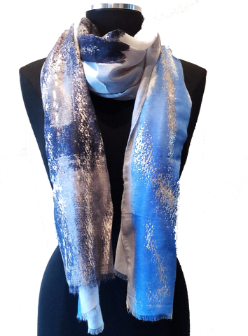 Harvest Lightweight Scarf Grey & Blue - Harvest Beauty