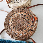 HARVEST ROUND SKETCHED RATTAN STRAW BAG in Natural Colour with Button Clip - Harvest Beauty