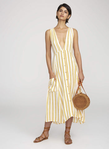 Claudia Midi Dress Azure Stripe - Harvest Beauty