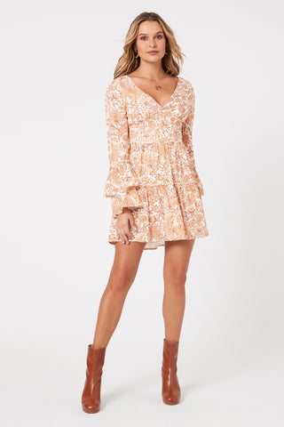 Minkpink Sunrise Paisley Orange Mini Dress Harvest Beauty