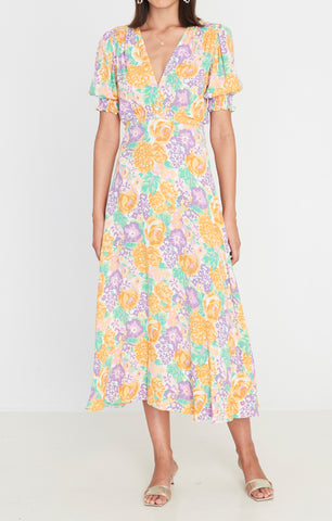 Marie Louise Midi Dress Ade Floral Print-Harvest Beauty