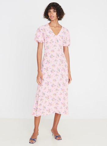 Daija Midi Dress Juliette Floral Pink-Harvest Beauty