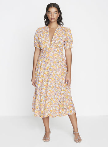Meadows Midi Dress Meja Floral - Harvest Beauty
