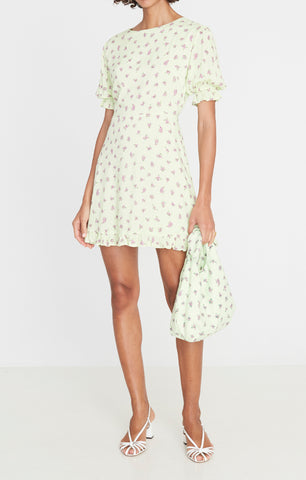 Florence Mini Dress Luda Floral Print Lime - Harvest Beauty