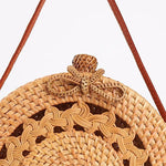 Round Sketched Rattan Straw Bag with Bow Clip - Harvest Beauty