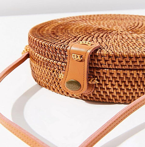 HARVEST ROUND RATTAN STRAW BAG in Natural Colour with Button Clip - Harvest Beauty