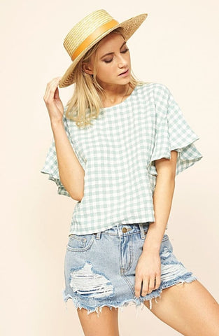 Sage Gingham Tee - Harvest Beauty