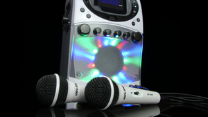 "Vocal-Star Portable CDG MP3G Bluetooth Karaoke Machine With 4.3"" Screen & Led Light Show, 2 Microphones & 40 Party Songs (VS355BT)"