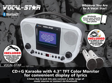 "Vocal-Star Portable CDG Bluetooth Karaoke Machine With 4.3"" Screen, 2 Microphones & 40 Party Songs (VS105BT)"
