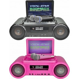 Vocal-Star Boombox CDG DVD Karaoke Machine With Bluetooth 2 Microphones & 150 Songs