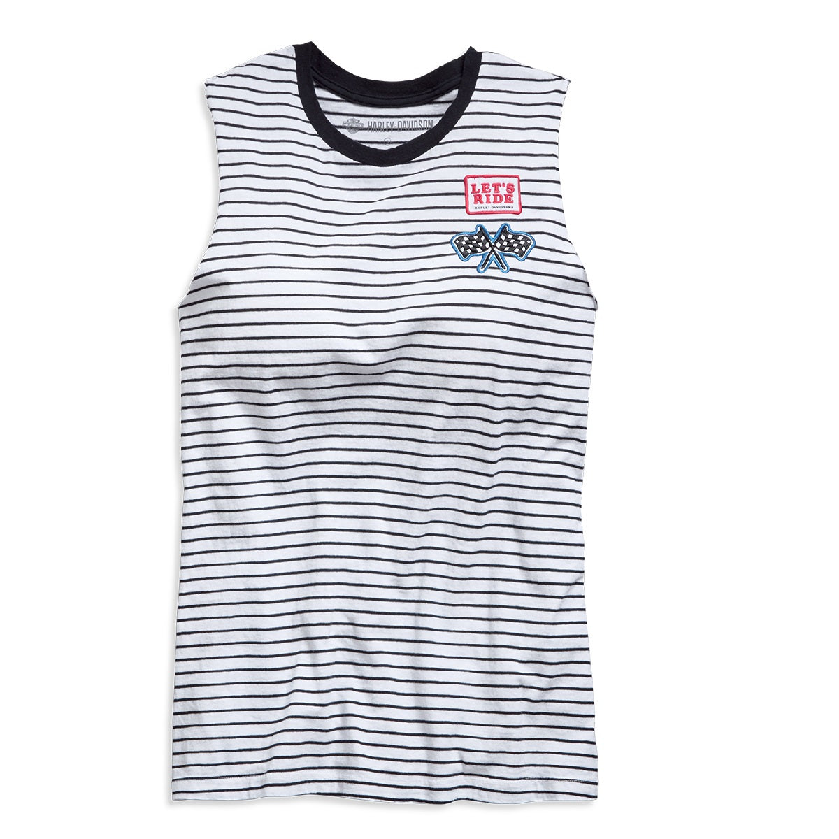 Striped Raw Edge Sleeveless Tee