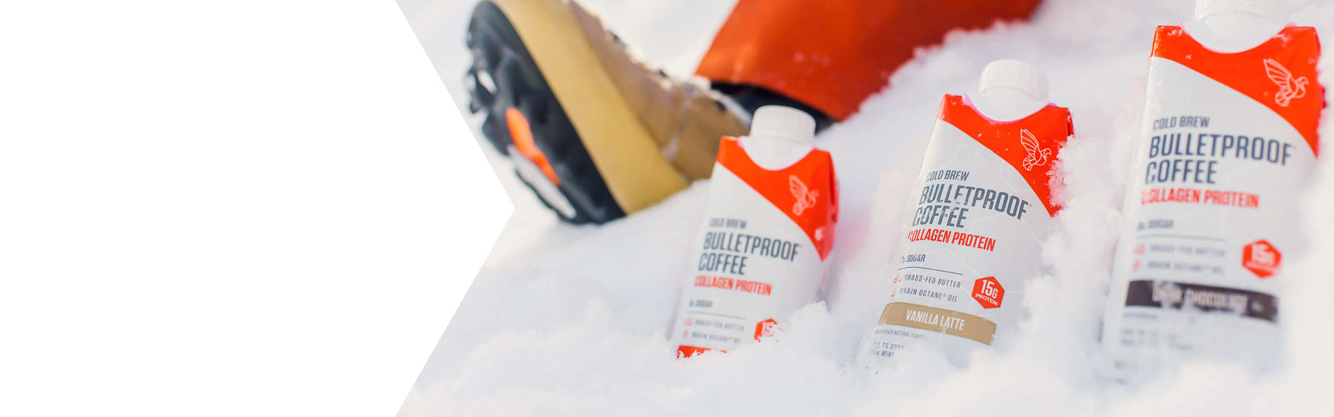 Bulletproof Coffee Cold Brew spread out in snow