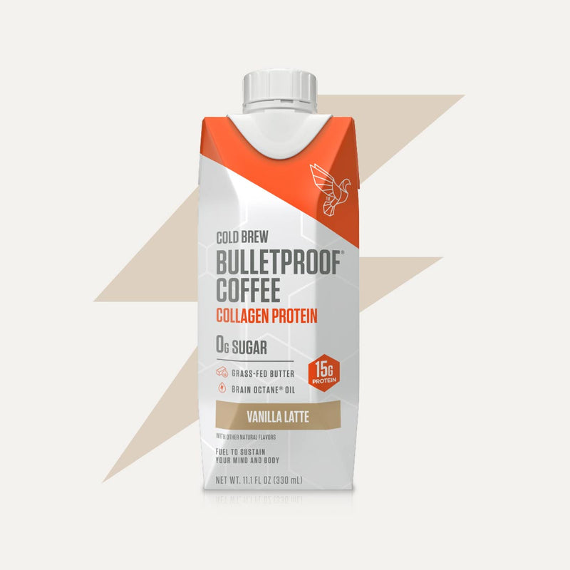Bulletproof Coffee Cold Brew Vanilla Latte with Collagen Protein bottle