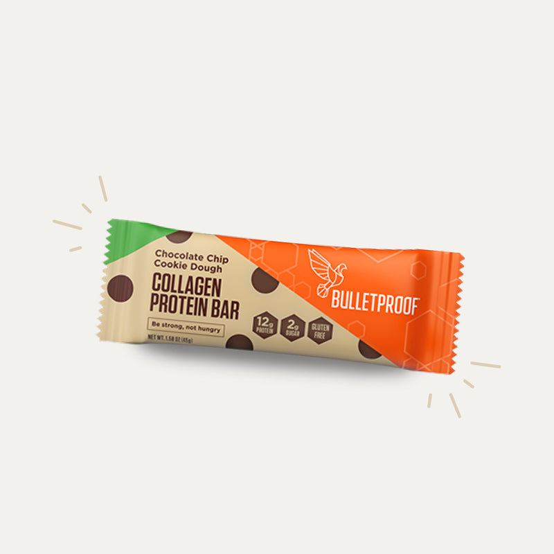 Bulletproof Chocolate Chip Cookie Dough Collagen Protein Bar packaging