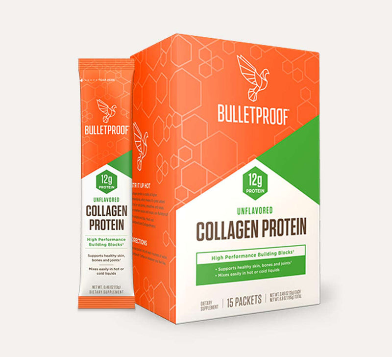 Bulletproof Collagen Protein Unflavored GoPacks packaging