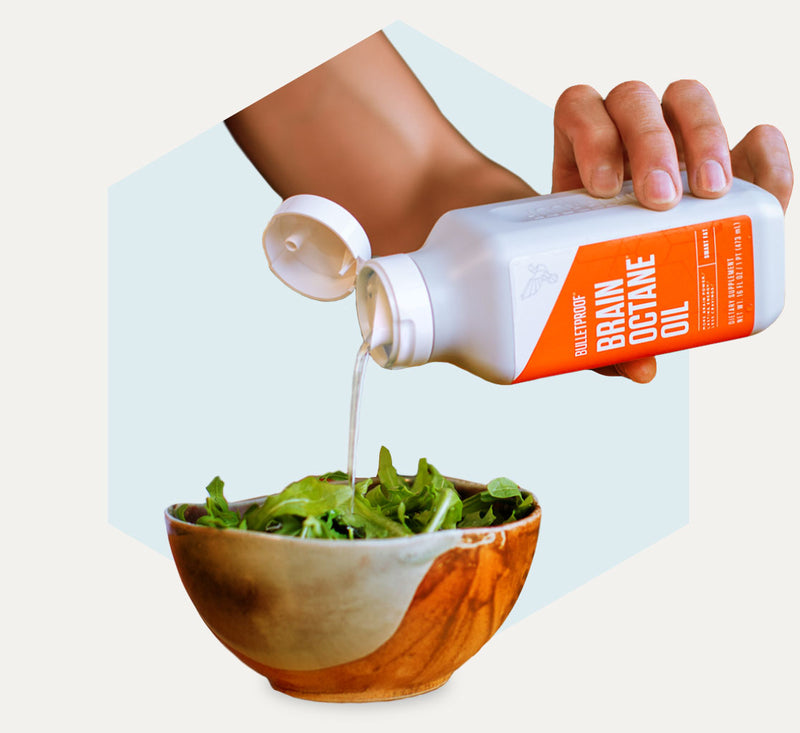 Bulletproof Brain Octane Oil in salad