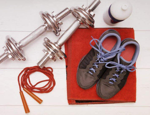 Workout equipment set out on floor