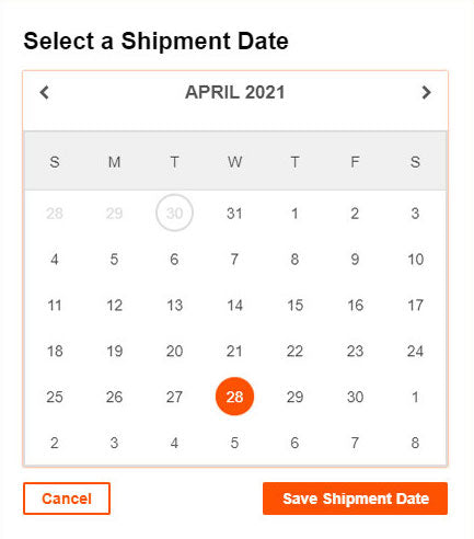 Select delivery date
