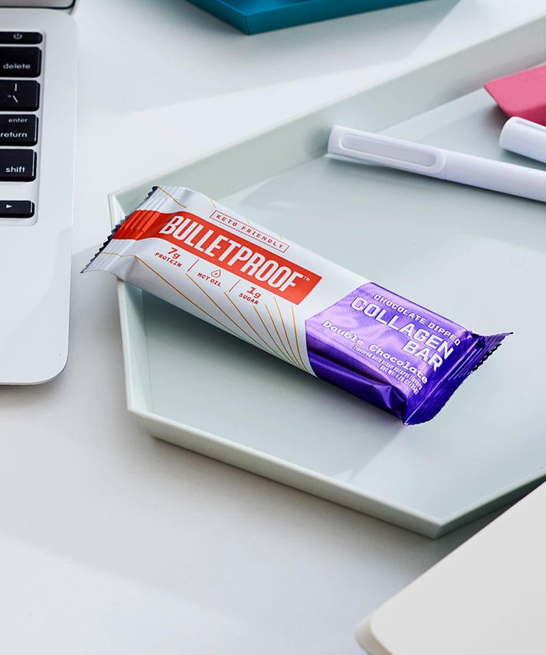 Bulletproof chocolate dipped collagen protein bar