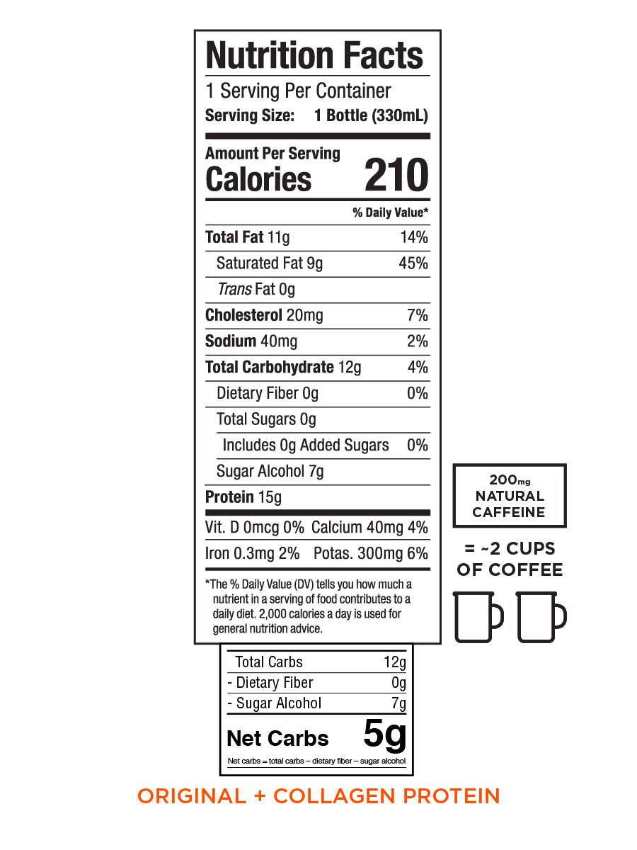 Nutrition information for Bulletproof Coffee Cold Brew - Original with Collagen drink in variety case