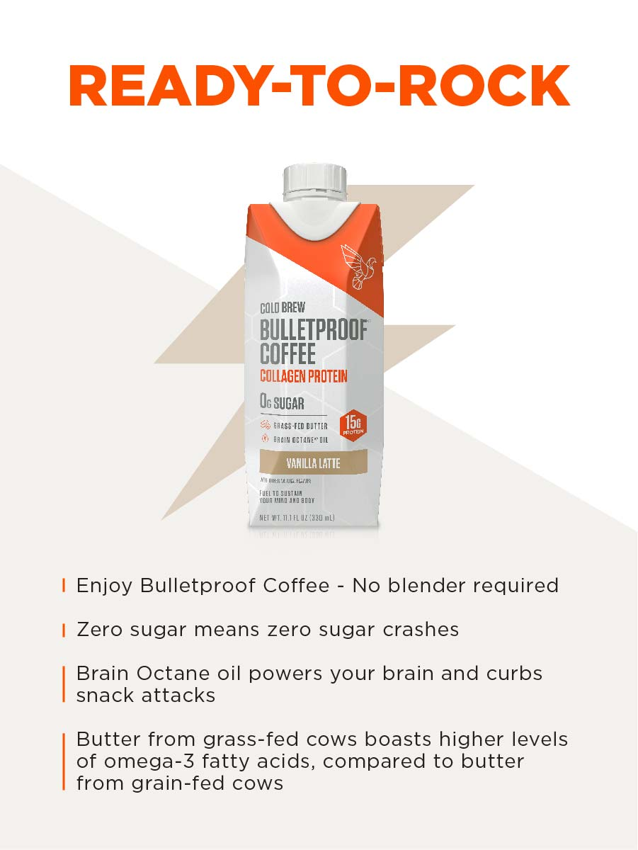 Enjoy Bulletproof Coffee on the go with convenient cold brew coffee, plus collagen peptides