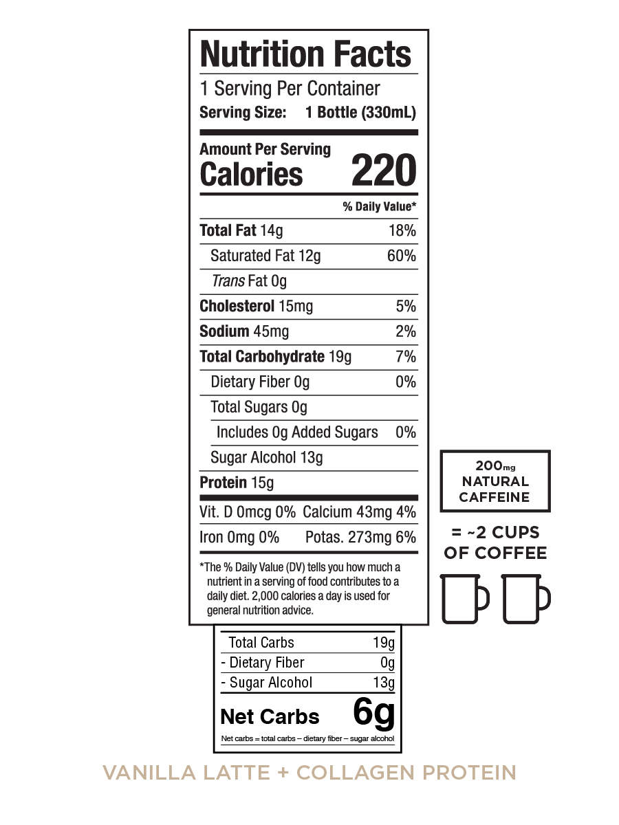 Nutrition information for Bulletproof Coffee Cold Brew - Vanilla Latte with Collagen drink in variety case
