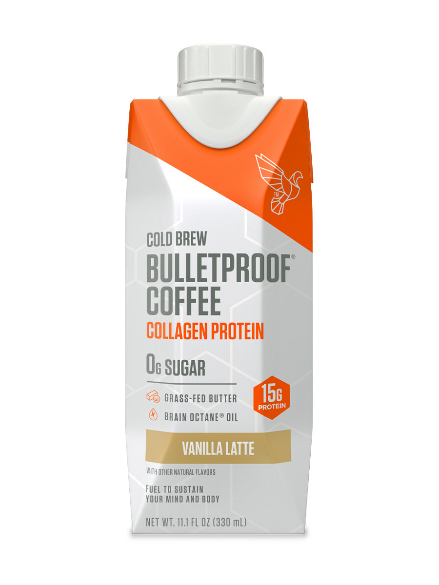 Bottle of Bulletproof Coffee Cold Brew - Vanilla Latte with Collagen