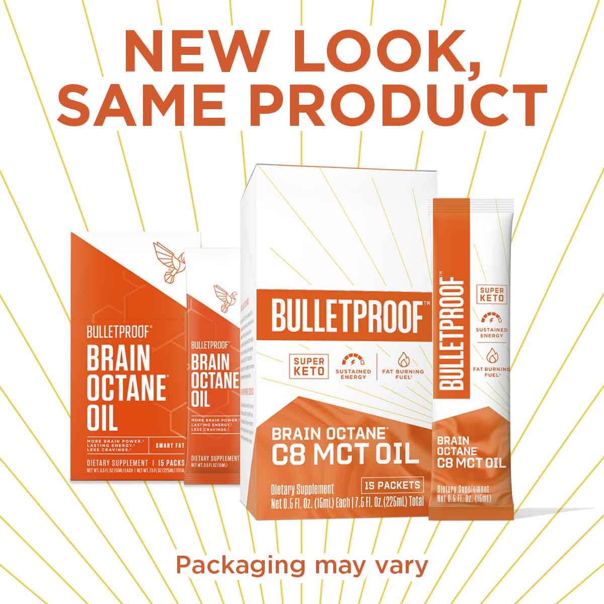 New Look, Same Product Brain Octane C8 MCT Oil Packets, 15 packets
