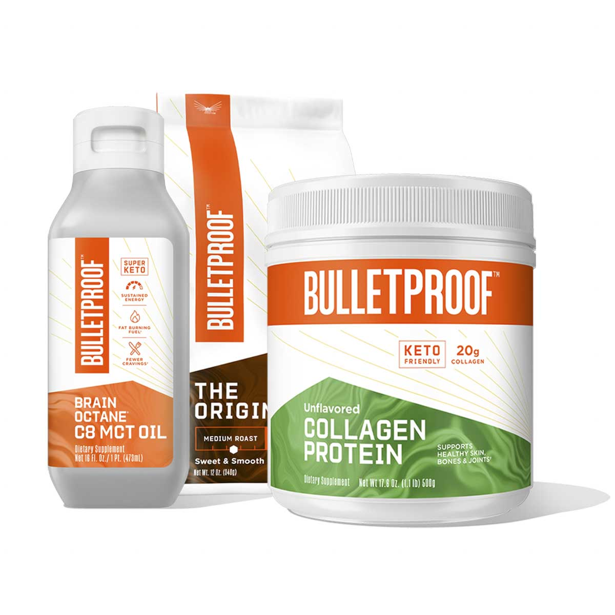 Bulletproof Basics: Ground Coffee, Collagen Protein 17.6oz and Brain Octane Oil 16oz
