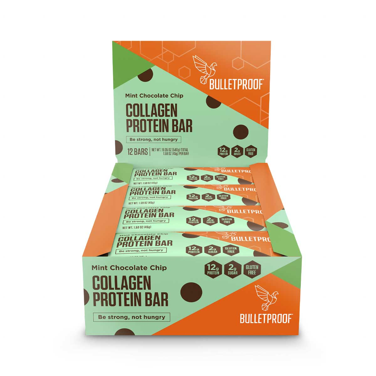 Bulletproof Mint Chocolate Chip Collagen Protein Bar (12 pack)