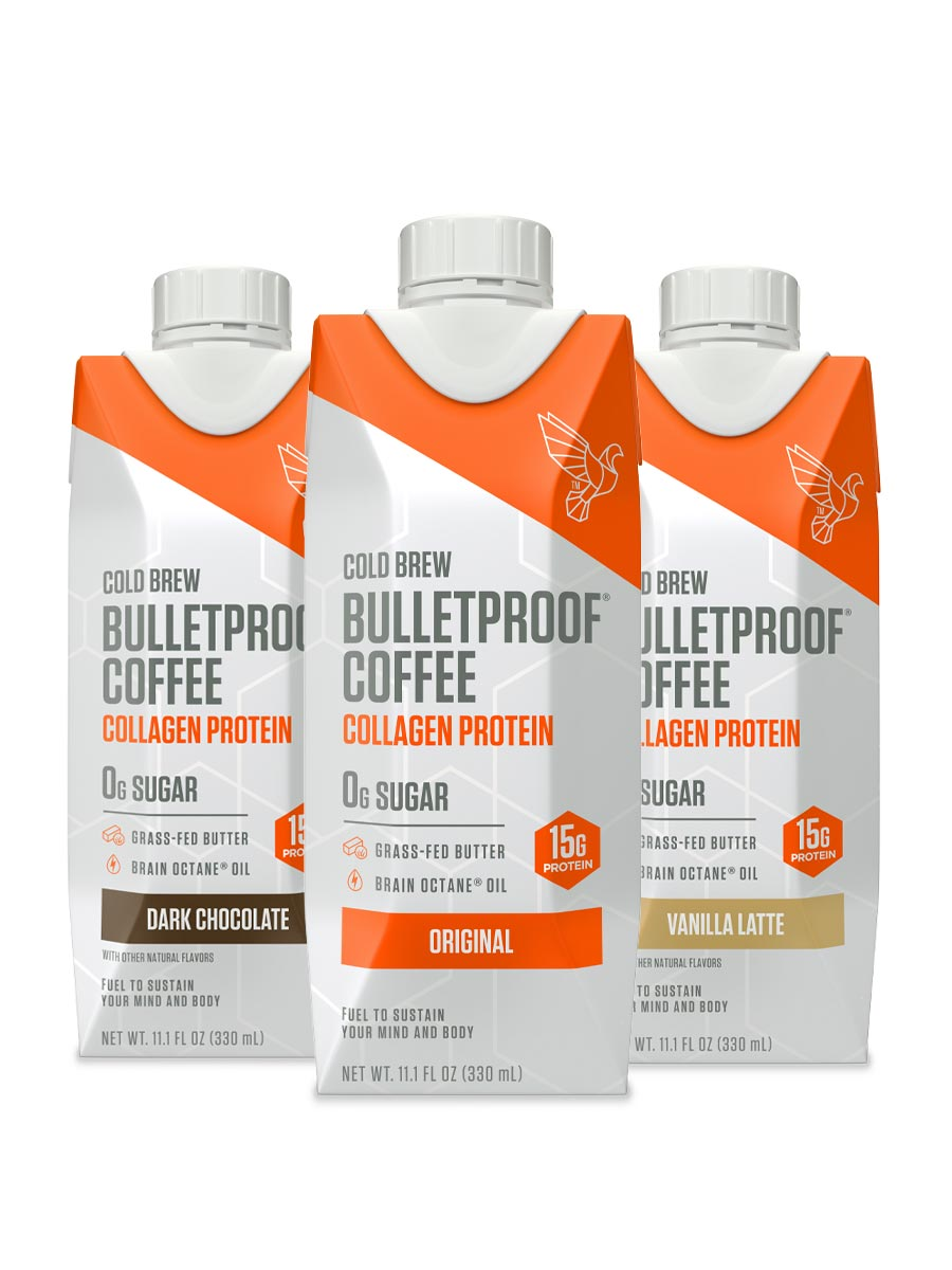 Three flavors of Bulletproof Coffee Cold Brew with Collagen Protein