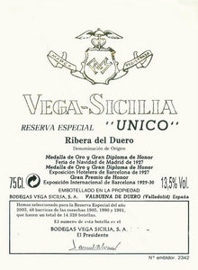 Vega Sicilia Unico Resreva Especial released 1998 (81/90) - 75cl bt