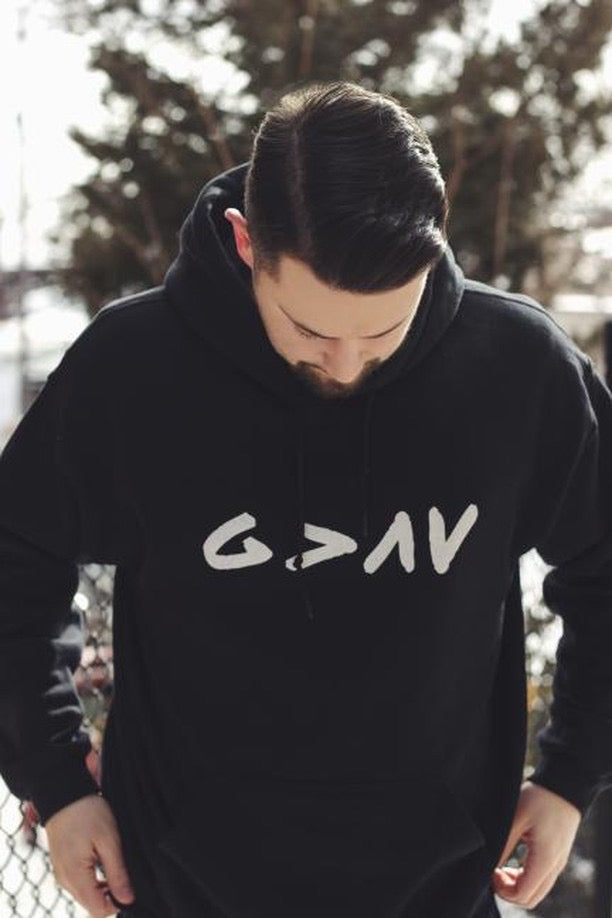 """God is Greater"" Hooded Sweatshirt - Aligned Blessings.com"