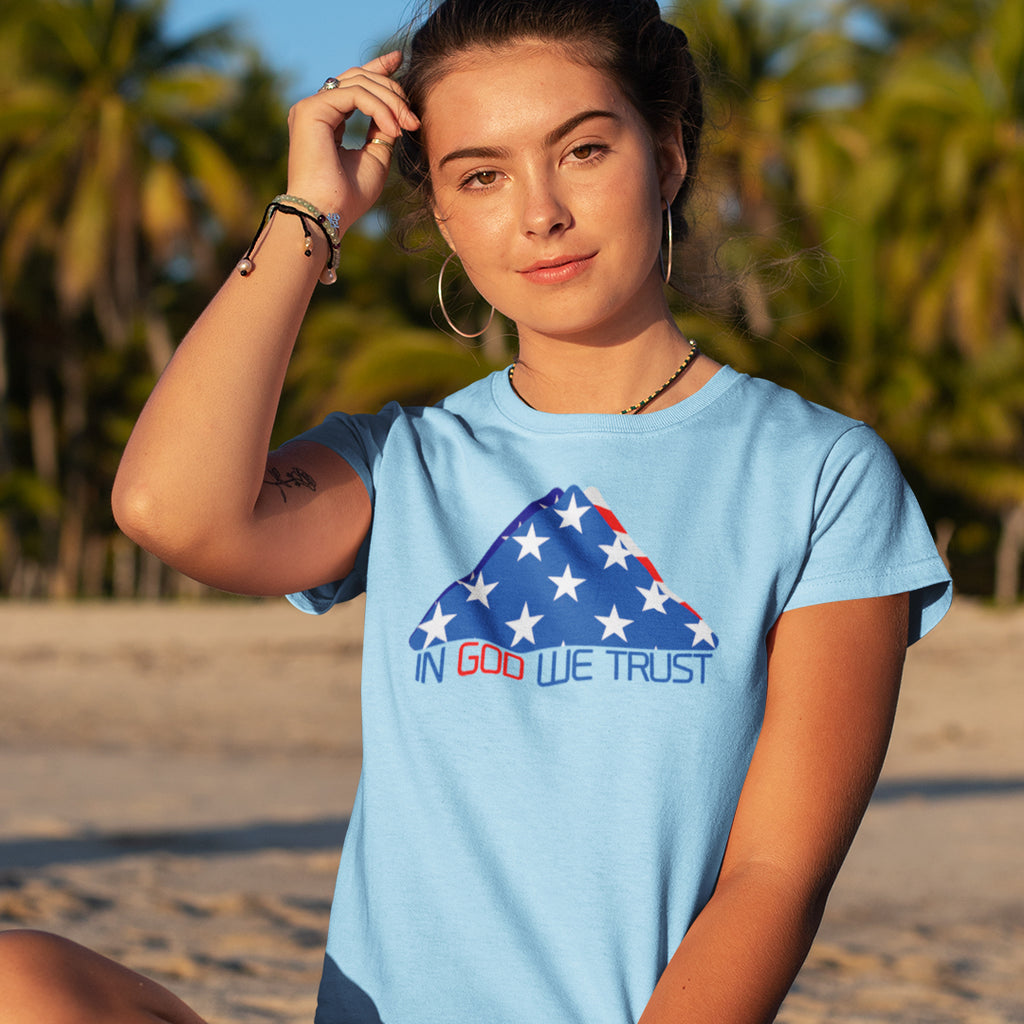"""In God We Trust"" Women's Jersey Knit Tee - Aligned Blessings.com"