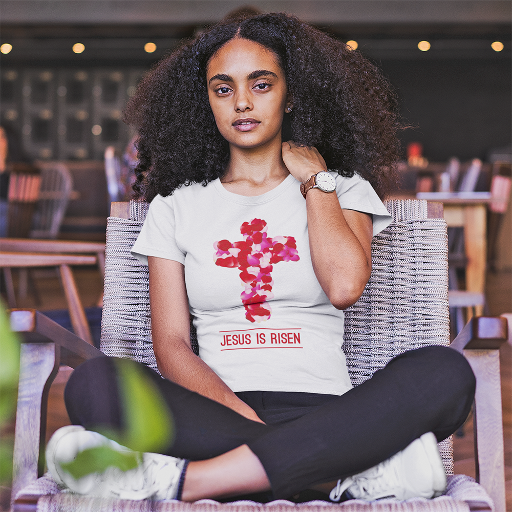 """Jesus Is Risen"" Women's Fashion Fit Tee - Aligned Blessings.com"