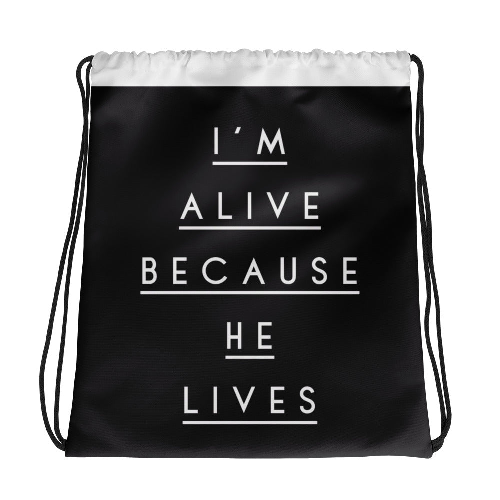 """He Lives"" Drawstring bag - Aligned Blessings, LLC"